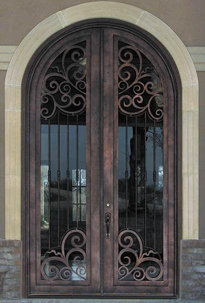 Steel Door Designs arizona security doors Barcelona 02 Steel Double Round Top Scrollword Design Doors