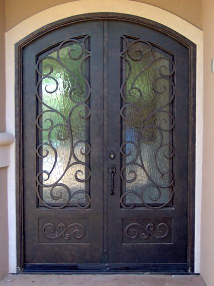 W1310 Iron Doors Double Arched Iron Entry Doors