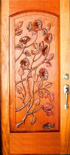 Sculptured Single Doors Arched Floral Design Doors