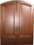 Mahogany Arch Double Cross Panel Doors