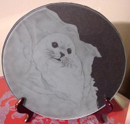Etched Glass Plate - Snow Pup