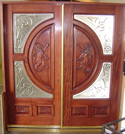 Carved lion double glass doors for Double doors with glass