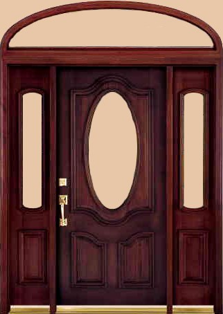 Dmc83 Deluxe Half Oval Dark Mahogany Entry Doors