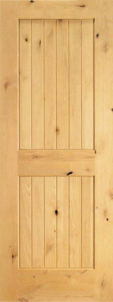 Interior Door  sc 1 st  Custom Glass Doors & Interior Southwest Glass Knotty Alder Plank V-Groove 2 Panel ...