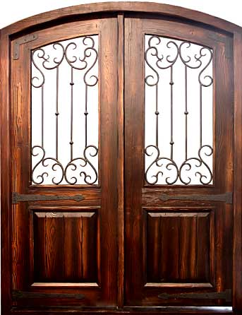 Rustic R2433 Arched Double Iron Clavos Distressed Doors