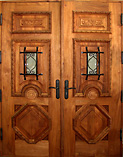 Double Carved Panel Speakeasy Rustic Doors