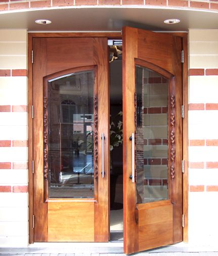 Custom Double Sculptured Doors Arched Glass Leaf Design